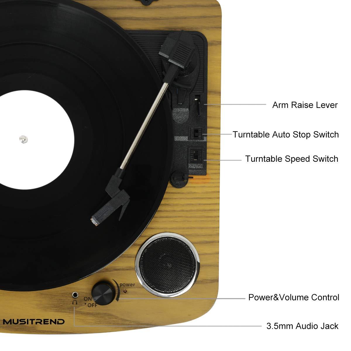 MUSITREND Tocadiscos Tres Velocidad 33/45/78 con Altavoz EstéReo Integrado Puerto De Conector RCA Soporte éLectrophone De GrabacióN MP3 Hecho De ...