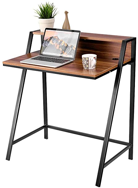 Bon TANGKULA 2 Tier Computer Desk, Home Office Wood Sturdy Frame Compact  Writing Table For Small