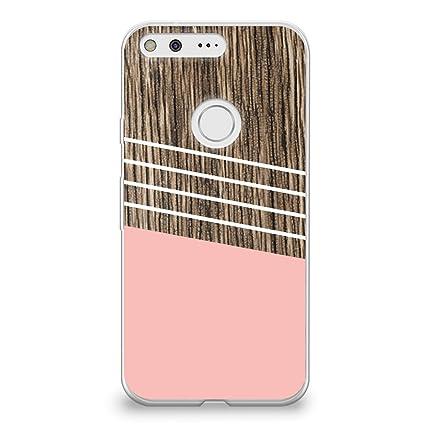 hot sale online 81939 54d1c CasesByLorraine Google Pixel XL Case, Wood Print Coral Pink Geometric  Striped Clear Transparent Case Flexible TPU Soft Gel Protective Cover for  Google ...