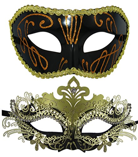 Couple Masquerade Metal Masks Venetian Halloween Costume Mask Mardi Gras -