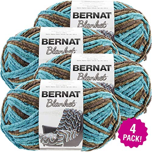 Bernat 99642 Blanket Big Ball Yarn-Mallard Wood, Multipack of 4, Pack