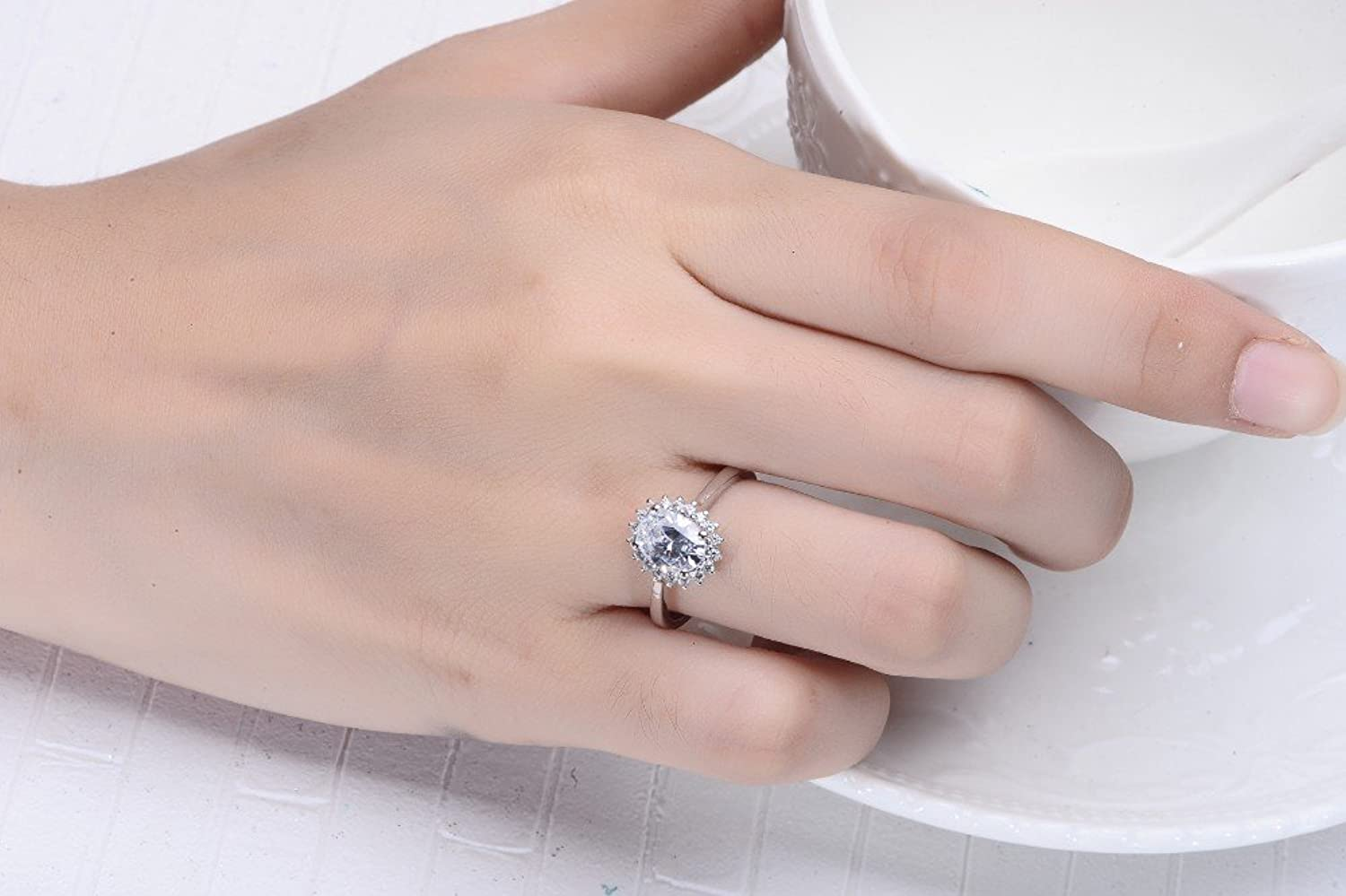 Handcraft Engagement Ring Dramatic 2Ct Oval Sterling Silver With18K ...