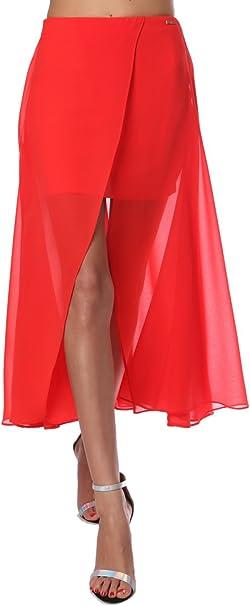 Q2 Mujer Falda larga cruzada de chifón rojo - XS - Rojo: Amazon.es ...