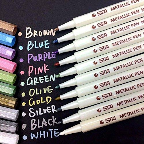 Nice PuTwo 601420327137 Metallic Marker Pens Scrapbook Photo Album Markers 10 Assorted Colors in 1 Set