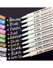Pennarelli Metallici, Beurpo Set Di 10 Penne Metallici Marker Specifici Per Album Fotografici, Scatole e Biglietti, Funziona su Qualsiasi Tipo di Carta e Superfici in Vetro, Plastica, Ceramica e Legno