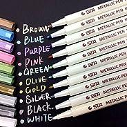 PHEZEN Metallic Marker Pens,Set of 10 Colors,Metallic Color Painting Marker For Gift Card Making,DIY Photo Alb