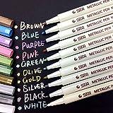 Prochive Metallic Marker Pens Set of 10 Vibrant Color Art Paint Marker for Crafts Photo Scrapbook Album Glass Plastic Pottery