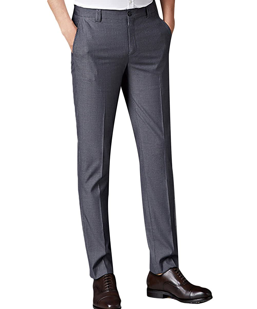 Mens Formal Business Suit Trousers Straight Leg Office Pants Stretch Slim Fit Work Home Smart Dress Pants Black//Navy//Grey