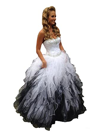 fcb3caa753b Fannydress White and Black Quinceanera Dresses with Ruffles Crystals Beads  Ball Gowns Prom Dress Graduation Dress at Amazon Women s Clothing store