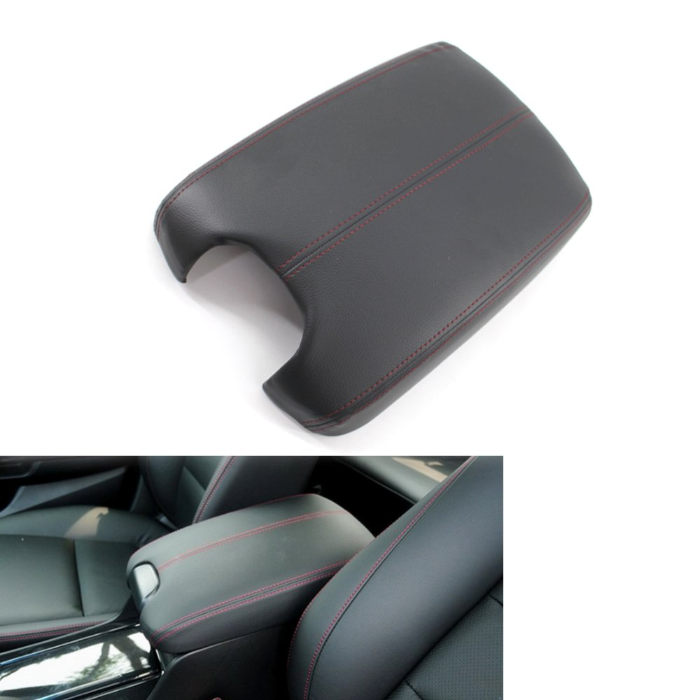 Plastic Plate For Honda Accord 2008-2012 Arotom Red Stitch Black Armrest Cover Center Console Lid Leather