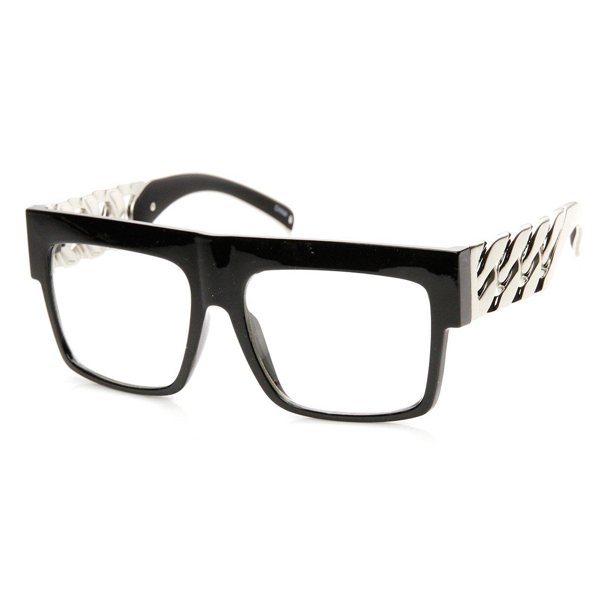 High Fashion Metal Chain Arm Clear Lens Flat Top Aviator Glasses (Black Silver)