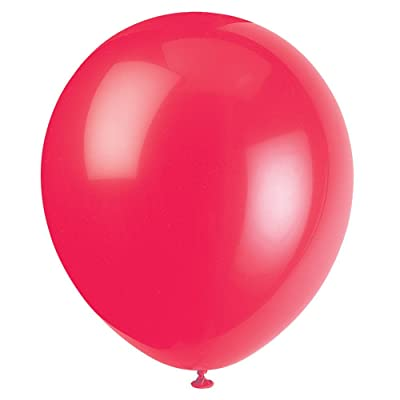 "Unique Industries, 12"" Latex Balloons, DIY Party Decoration - Pack of 10, Ruby Red: Kitchen & Dining"