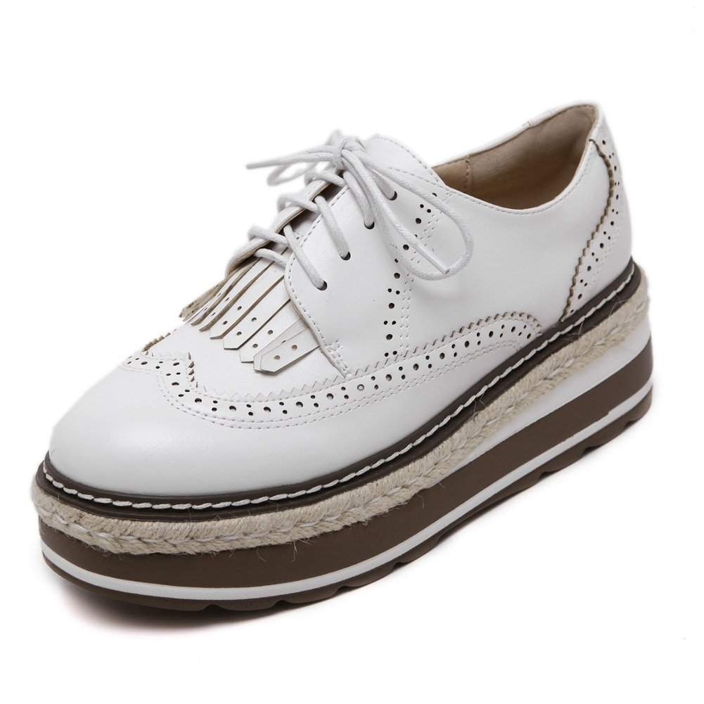 CYBLING Fashion Casual Lace up Mid Heel Thick Sole Platform Oxford Shoes for Women