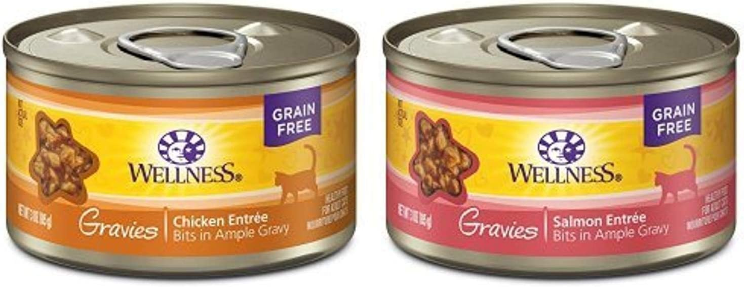Wellness Gravies Natural Grain Free Wet Canned Cat Food, Chicken Paired With Salmon (Two Packs Of 12, 3-Ounce Cans)