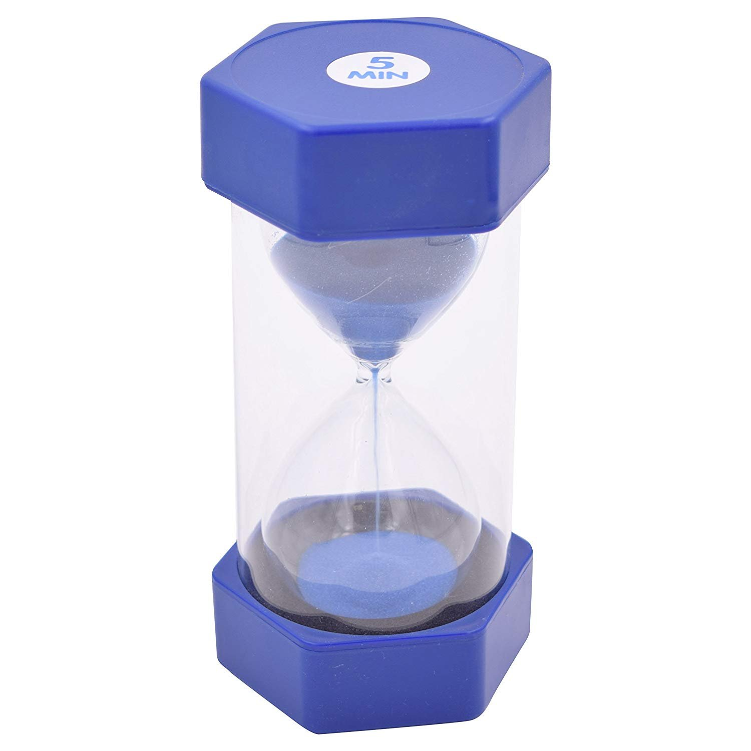 Sand Timer Hour Glass for Kids, Teachers, Therapists, Classroom, Office Desk, Kitchen, Decoration, Sensory Room. 5 Minute Hourglass timers. Blue. Large Size - by Playlearn USA