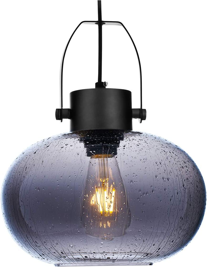 SYDTOP Modern Smoked Glass Pendant Light, 10 Inches Seeded Glass Globe Pendant Lighting, Matte Black Kitchen Hanging Light Fixture for Kithchen Island, Sink, Counter, Dining Room, Bar, Farmhouse