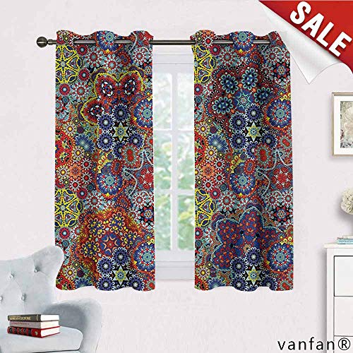 (Big datastore Batik, Curtain Wand,Vintage Combined Nested Paisley Motif Oriental Feminine Cultural Eastern Batik Theme, Thermal Insulated Tie Up, W72 x L45)