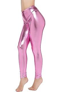 e15e2f7789 HDE Womens Shiny Leggings Metallic Clubwear Stretch Liquid Wet Look ...
