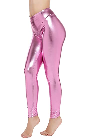f000d070 PINKPHOENIXFLY Womens Sexy Shiny Faux Leather Leggings Pants (S, Baby Pink)