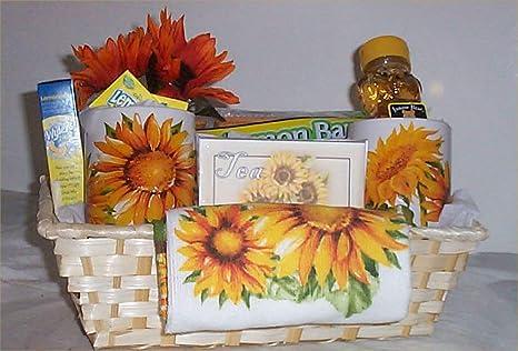 Amazon.com: Sunflower Gift Basket Wicker Mugs Kitchen Towel Lemon Tea Cookies Candy: Everything Else