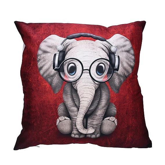 VJGOAL Encantador Animal de impresión Funda de Almohada Suave comfoatable sofá Coche Cuadrado Funda de cojín decoración para el hogar extraíble y ...