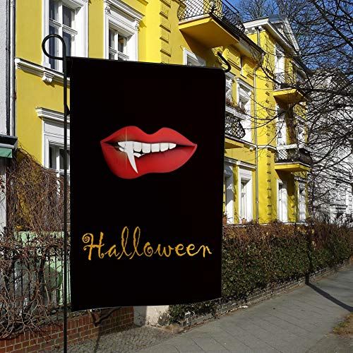 Luck Sky Halloween Theme Vampire Lip Horror Painting Double Sided Premium Garden Flag Decorative Outdoor Garden Flags for Wedding Home Yard Garden Decor - 28x40 Inch -