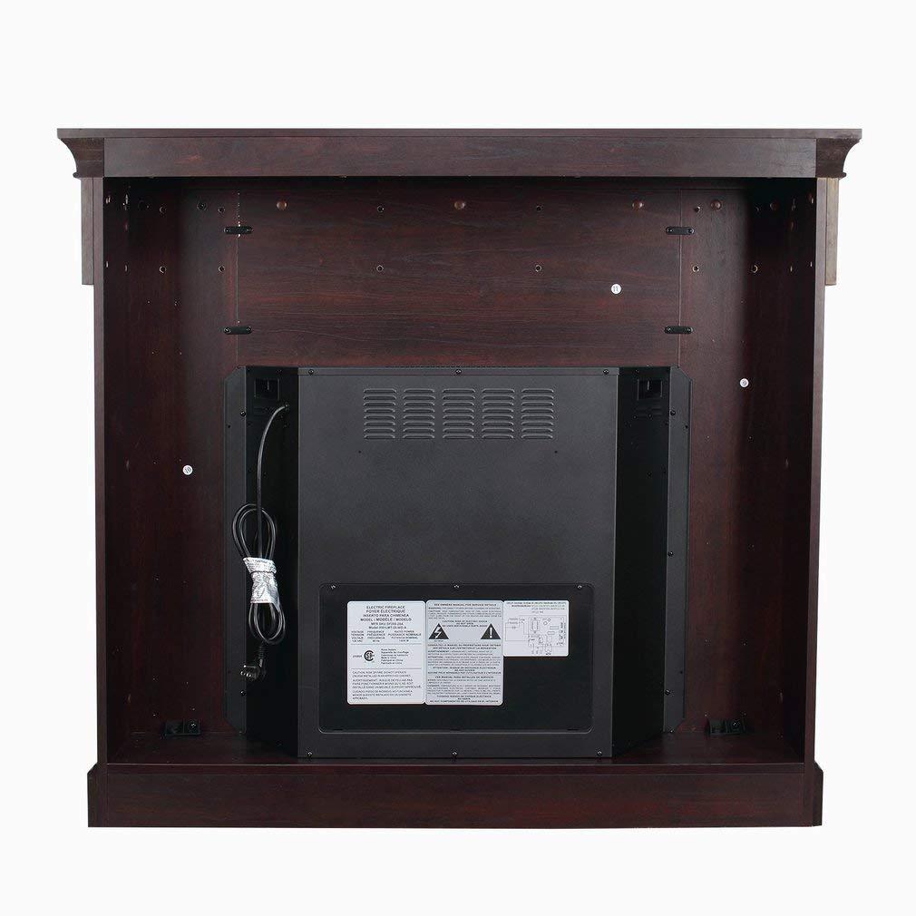 SWEEPID - Chimenea eléctrica de 28 pulgadas con simulación de llamas LED, radiador eléctrico, estufa, calefacción, radiador de vidrio, borde de chimenea de ...