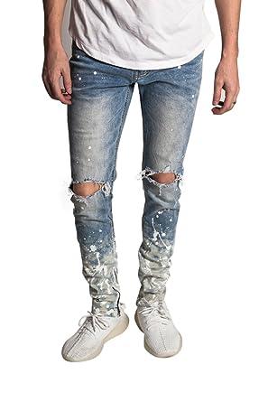 3efba362b4c KDNK Men s Tapered Skinny Fit Stretch Denim Distressed Splatter Ankle Zip  Jeans at Amazon Men s Clothing store