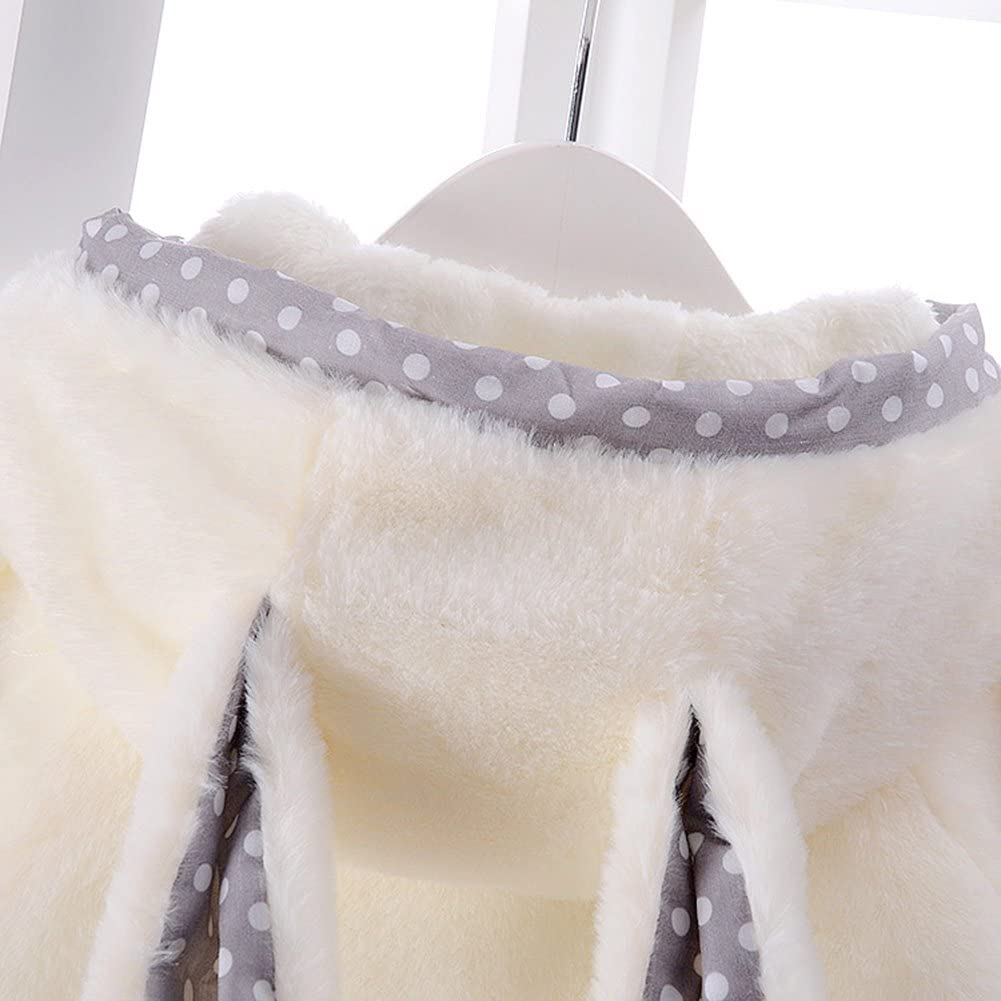 Per Baby Girl Hooded Thick Coat Faux Fur Winter Warm Cloak Jacket with Rabbit Ears