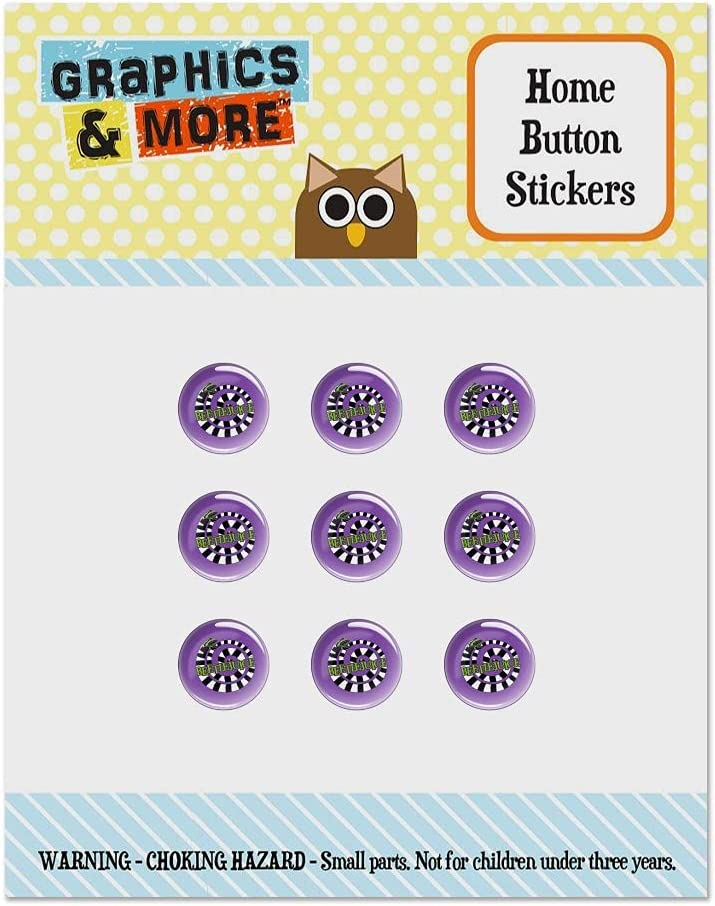 Beetlejuice Sandworm Logo Set of 9 Puffy Bubble Home Button Stickers Fit Apple iPod Touch, iPad Air Mini, iPhone 5/5c/5s 6/6s 7/7s Plus