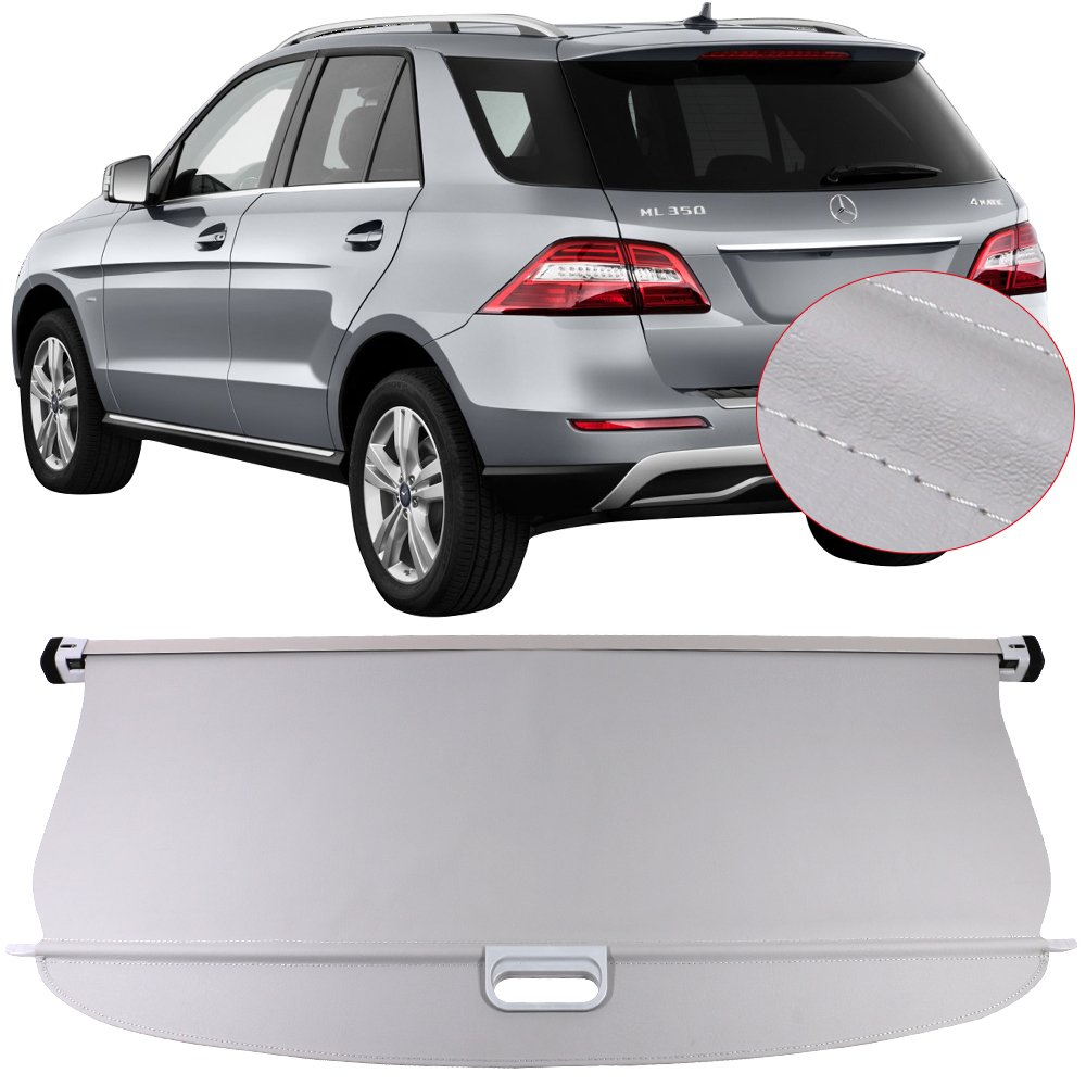 Tonneau Cover Fits 2012-2015 Mercedes-Benz ML Class ML350   Grey PU Cargo Cover Retractable Shielding Shade Luggage Security Shield 1PC By IKON MOTORSPORTS   2013 2014