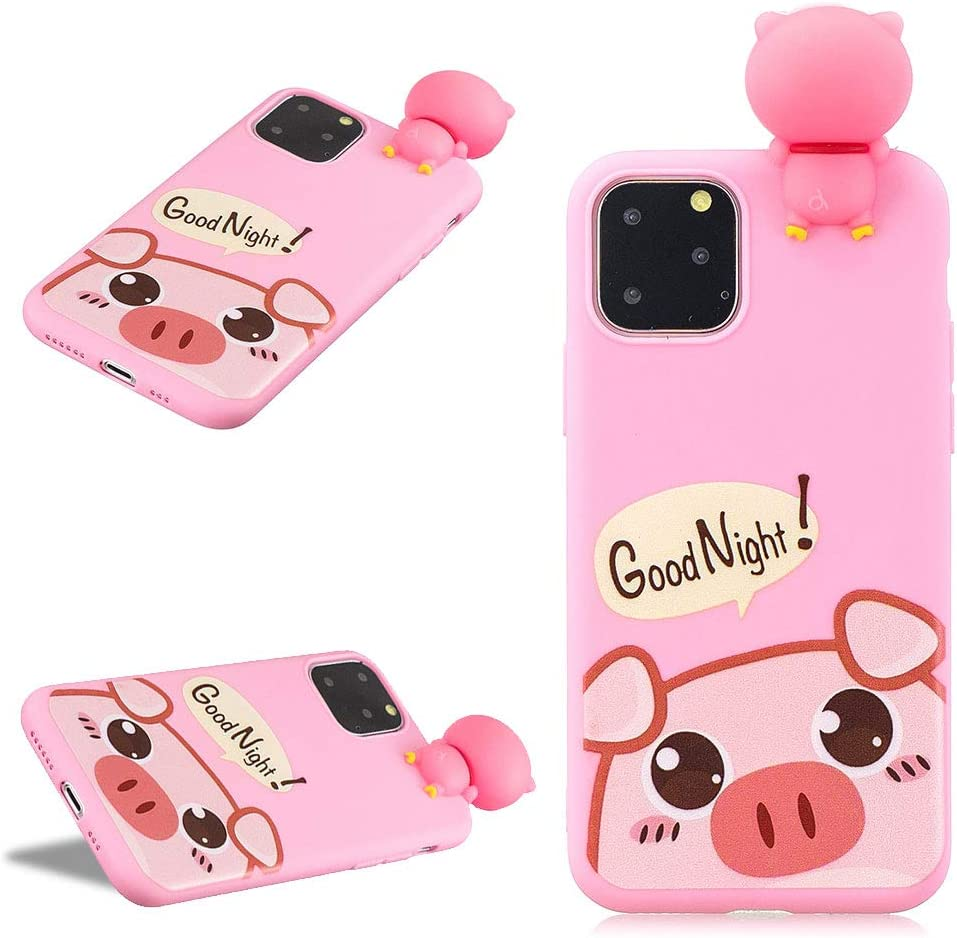 LCHDA for iPhone 11 Pro Max 3D Cartoon Case,iPhone 11 Pro Max Cute Squishy Pig Animal Print Pattern Kawaii Soft Silicone Protective Back Phone Cover Skin for Teen Girls Boys-Pink