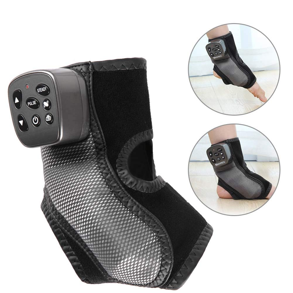 Electric Foot Ankle Massager, Foot Massager Kneading Shiatsu Therapy Plantar Massage Vibration Heating Foot Acupuncture Points Massager