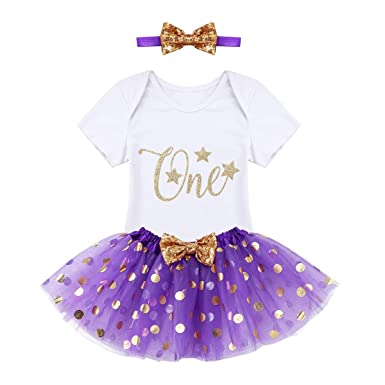 bf4075991f4 TiaoBug Kids Baby Girls Short Sleeve 1st Birthday Outfit Tutu Romper Party  Dress Skirt Headband Set  Amazon.co.uk  Clothing