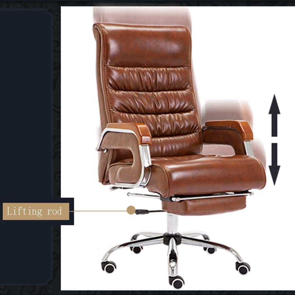 HPLL kontorsstol svängbar stol, PU datorstol, lyft massivt trä sömnad räcke chef stolar, ergonomiska säten, fritid kontorsstol, bekväm ryggstödstol, 3 färger svängbar stol en