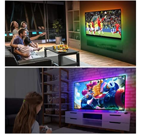CroLED Sistema Ambilight para TV Tira LED de 5M con 150 RGB para hacer Ambilight en Televisión ilumínicos detrás de la TV dependiendo de lo que aparece en pantalla Con fuente de
