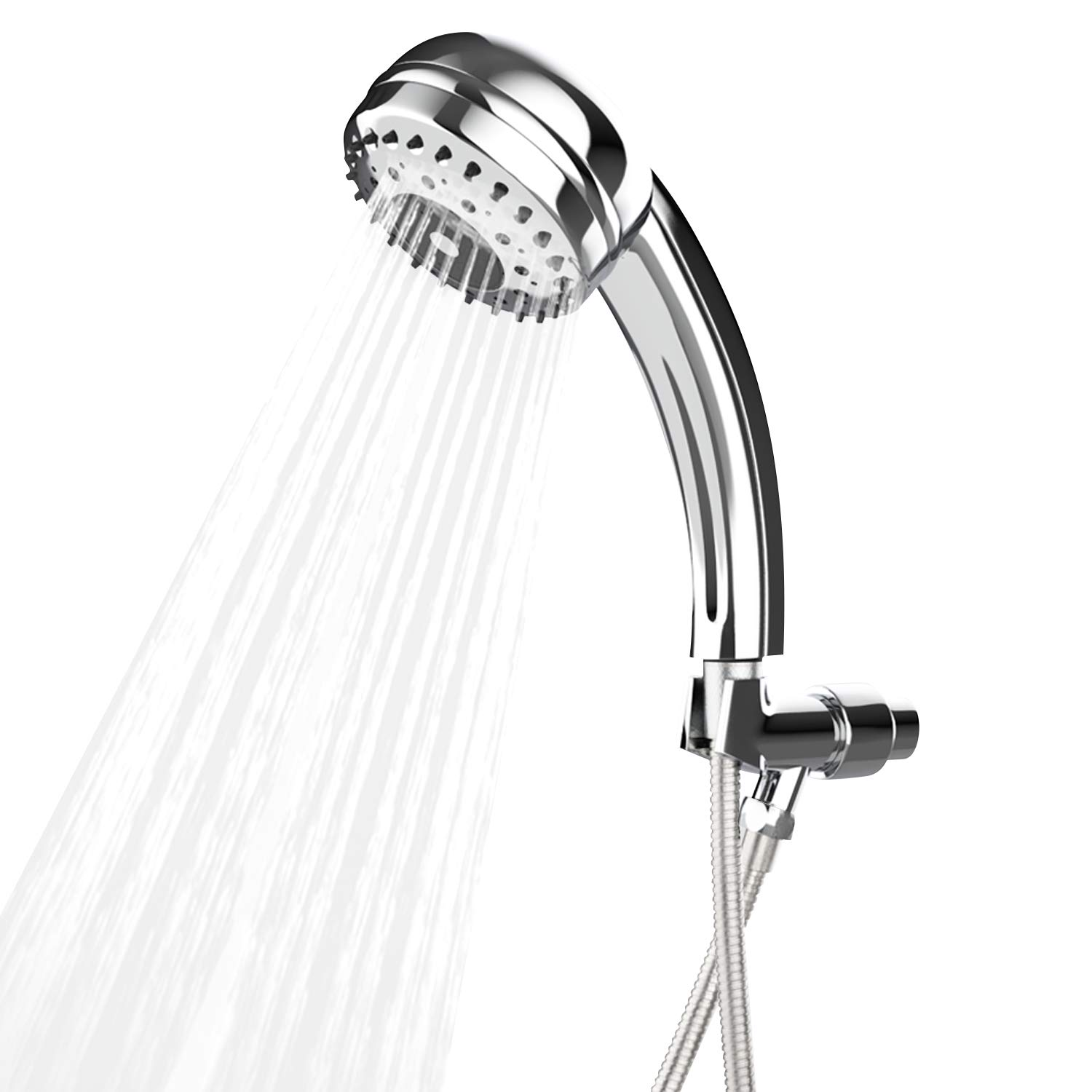 BATHWA 9 Spray Settings Handheld Shower Head Chrome Finish Adjustable Shower Head with Stainless Steel Hose, Silver