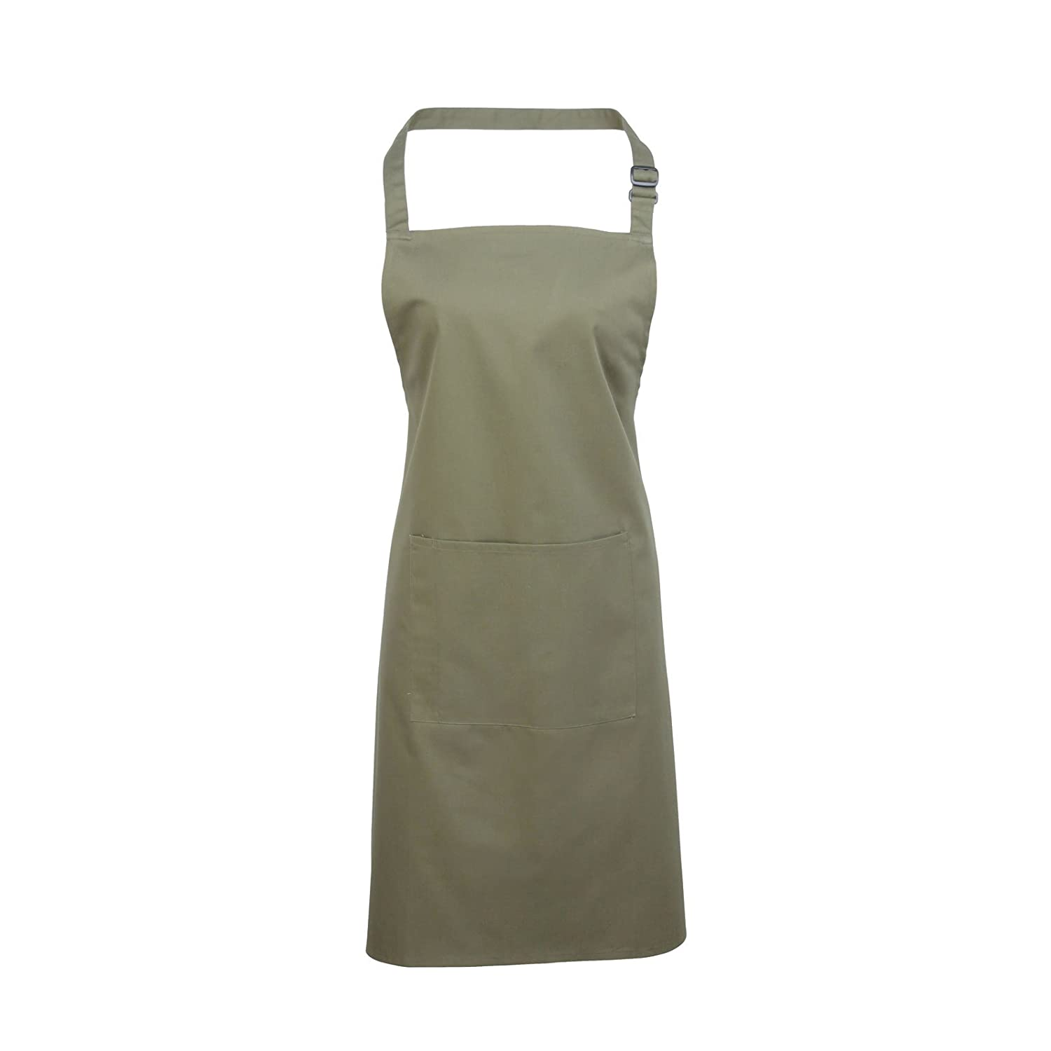 Adults/Unisex Plain Polycotton Bib Apron With Pocket - Various Colours Available (Sage)