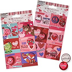 Mini Valentines Day Cards for Kids with Matching Pins, 36 Count; Asst. Styles
