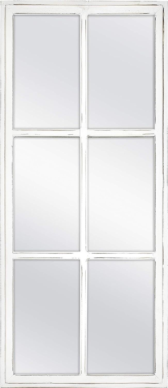 MCS 13x30 Inch White Farmhouse Windowpane Wall Mirror