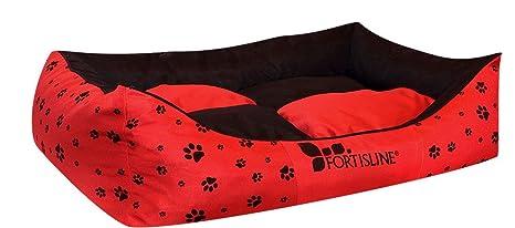 """Cama para perros """"Madagascar Negro/Rojo XL – 100 x 85 cm"""