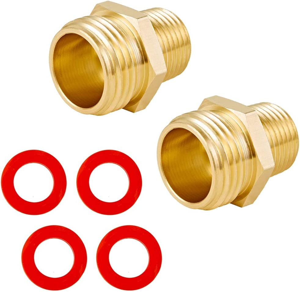 """BingSnow 2 Pcs Brass Garden Hose Adapter Fitting 3/4"""" GHT Male x 1/2"""" NPT Male Connector Industrial Metal Brass Garden Hose to Pipe Fitting Connect"""