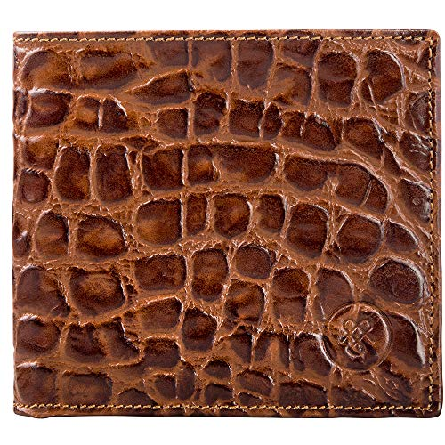 Maxwell Scott Men's Faux Crocodile Leather Wallet - Vittore Croco Brown