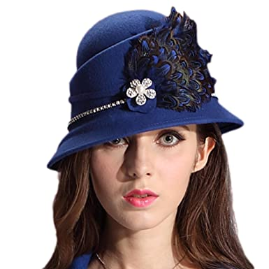 aeb1f3a5ddb June s Young Women Hats for Winter Handmade Women Felt Hats Caps Luxury  Feather Winter Hat Blue