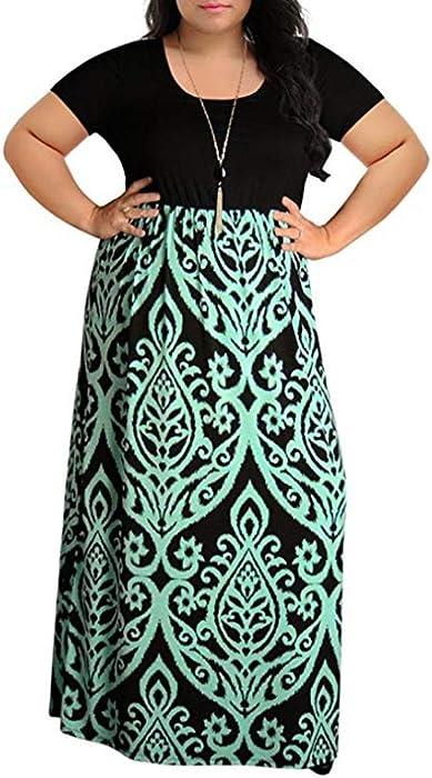 Paymenow Hot Sale 2018 Women Plus Size Short Sleeve Summer Maxi