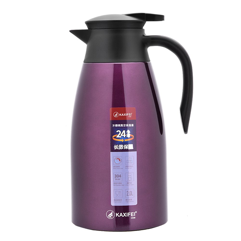 KAXIFEI 2L Stainless Steel Vacuum Jug/Push Button Thermal Flask Jug/Double-Walled 24h Cold + Hot Insulation/Leak Proof Pot for Coffee, Tea, Beverage(Purple)