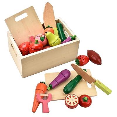 CARLORBO Jouets en bois pour 2 ans - Jeu de simulation de nourriture magnétique Jeu de fruits et légumes pour enfants Cuisine de jeux de rôle: Juguetes y juegos