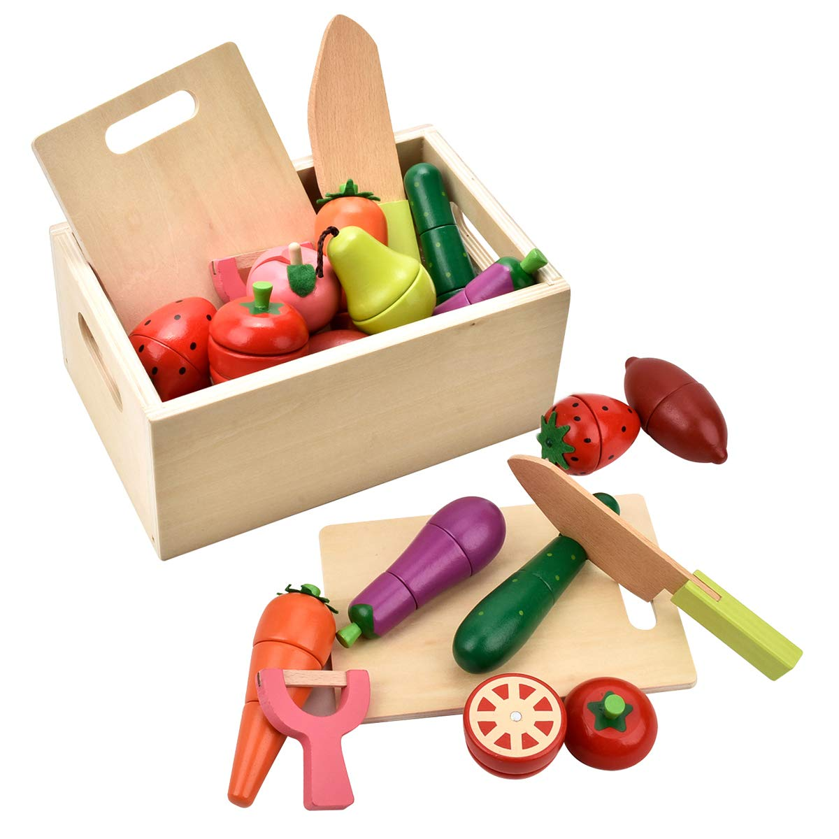 CARLORBO Play Food for Kids Pretend Play Kitchen - WoodenToys Vegetables and Fruit for 2 Year Old Boys Girls Early Educational Development