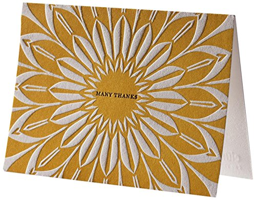 Yellow Sunburst Letterpress Thank You Notes (Elum Designs)