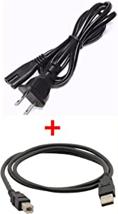 PlatinumPower AC Power Cord + USB Cable for HP Envy 4500 4501 4630 5530 5535 e-All-in-One Printer